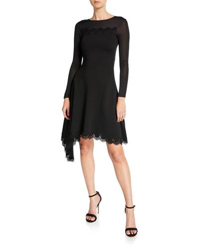 6a787b4272d93 Quick Look. Oscar de la Renta · Lace Neck Long-Sleeve Knit Dress
