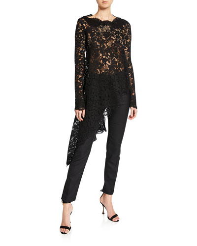 Lace-Trim Asymmetric-Hem Blouse