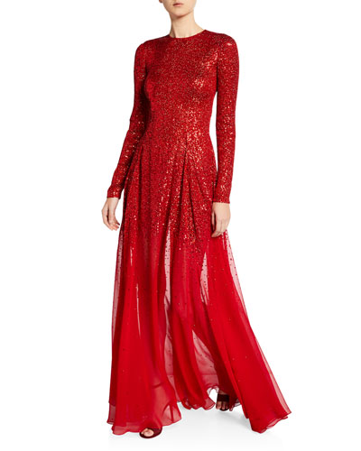 Degrade Sequined Silk-Chiffon Gown