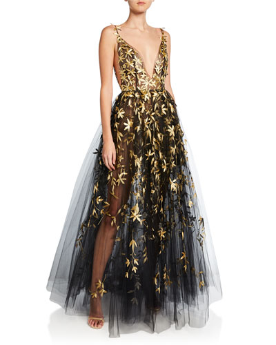 Golden Floral-Embroidered Tulle Illusion Gown