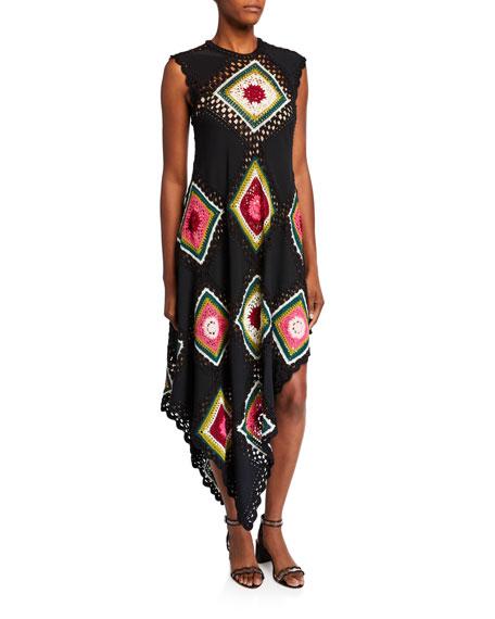 Oscar de la Renta Sleeveless Patchwork Dress