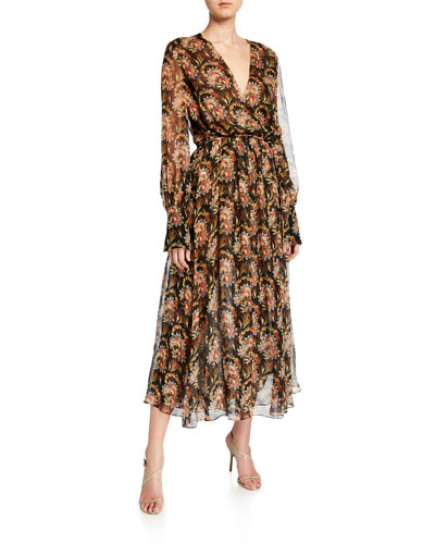 Floral-Print Chiffon Wrap Dress