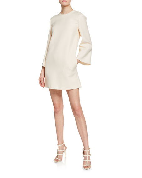 Valentino Crepe Flare-Sleeve Mock-Neck Dress