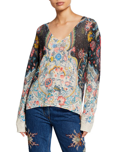 Sequined Linen V-Neck Sweater