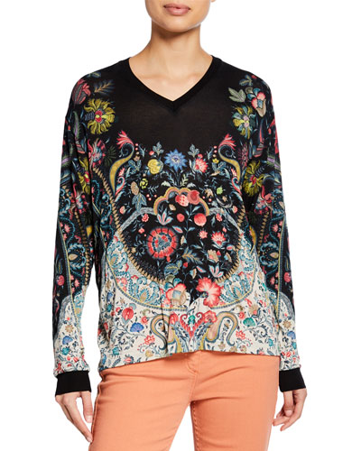 Bicolor Engineered Floral Gauze Blouse