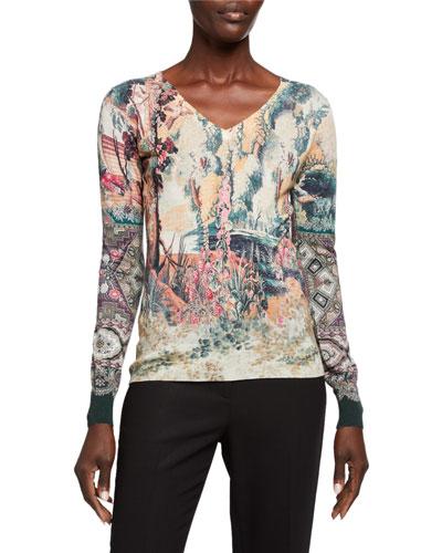 Castle-Print Silk/Cashmere V-Neck Sweater