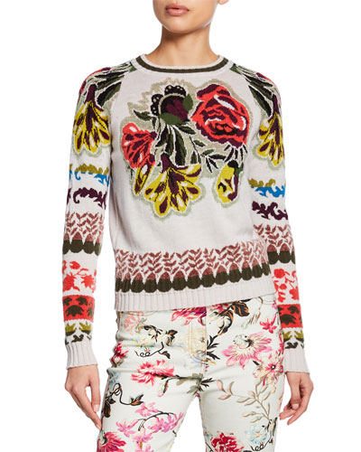 English-Rose Intarsia Crop Sweater
