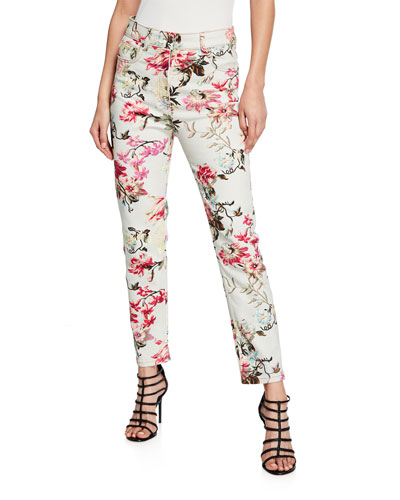 English Floral Print Jeans