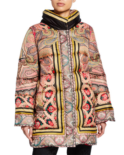 Long Floral Puffer Jacket