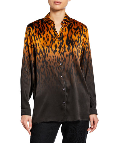 Leopard Ombre Satin Long-Sleeve Blouse