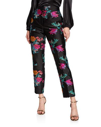 Piped Brocade Pants