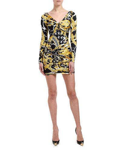 Brocade-Print Ruched Mini Dress