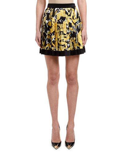 Brocade-Print Box-Pleated Mini Skirt