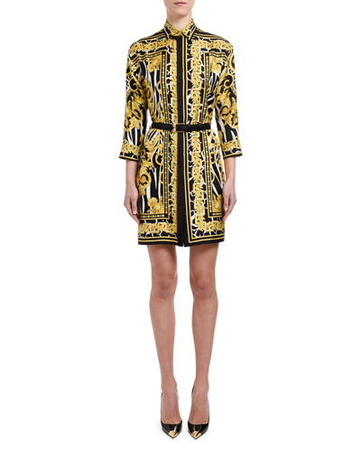 Brocade-Print Silk Shirtdress