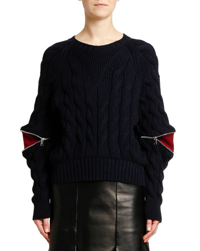 Zipped-Sleeve Cable Knit Sweater