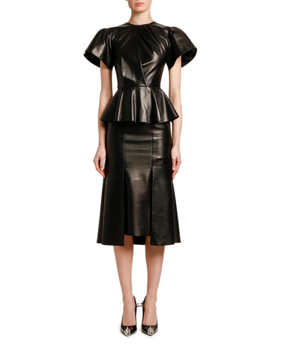 Leather Peplum-Waist Cocktail Dress