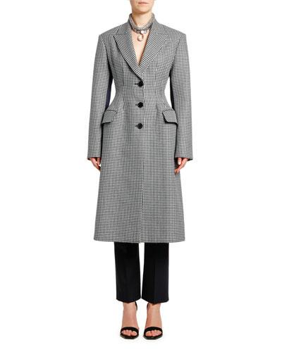Small Dogtooth Check Wool & Satin Coat