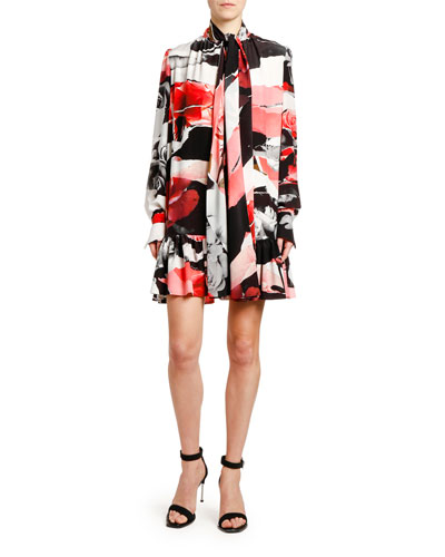 Torn Rose-Print Crepe de Chine Tie-Neck Dress