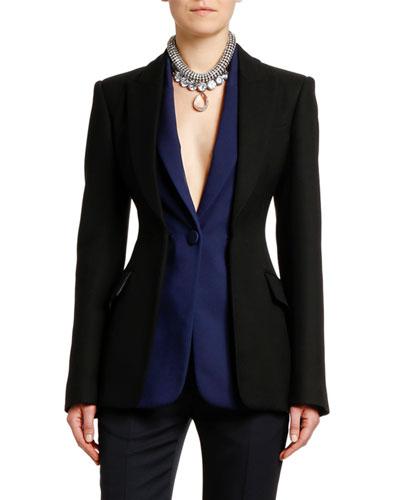 Lightweight Two-Tone Blazer Jacket