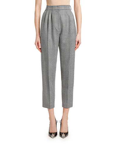 High-Rise Prince of Wales Check Ankle Pants