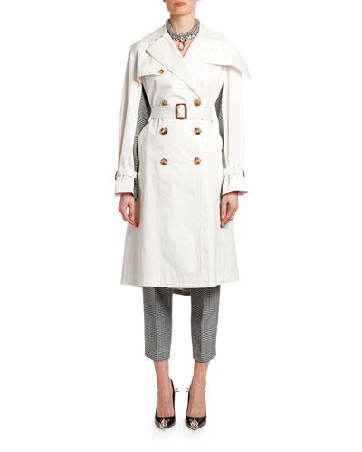 Check-Back Gabardine Trench Coat