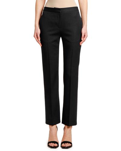 Wool-Silk Cigarette Pants