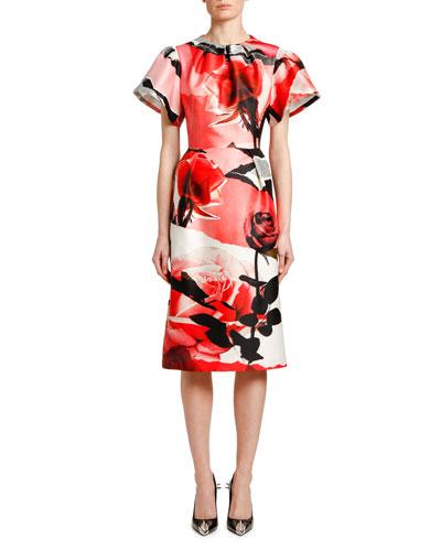 Short-Sleeve Torn Rose Wool-Silk Midi Dress