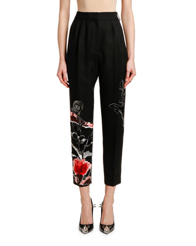High-Rise Rose-Embroidered Wool-Silk Pants