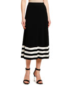 Alexander McQueen Striped-Hem Ribbed Knit Midi Skirt
