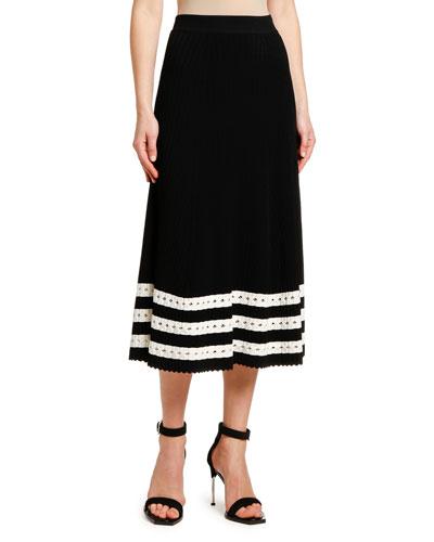 Striped-Hem Ribbed Knit Midi Skirt