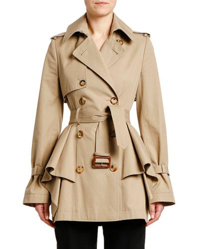 Peplum-Waist Gabardine Short Trench Coat
