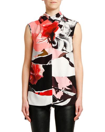 Sleeveless Rose-Print Crepe de Chine Blouse