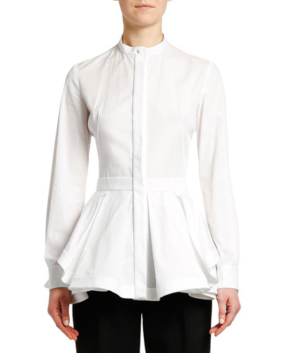 Fit & Flare Poplin Button-Front Blouse