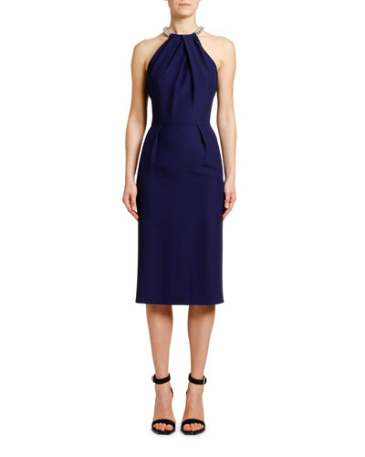 Halter Neck Leaf Crepe Dress