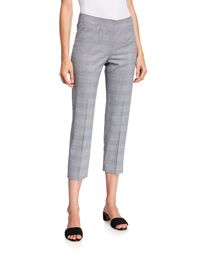 Audrey Prince of Wales Checked Pants, White-Blue
