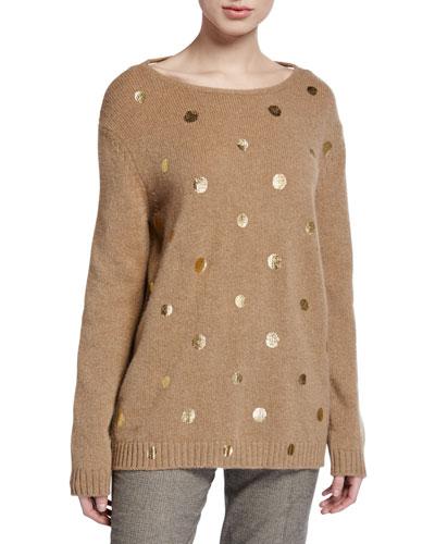 Wool Crewneck Tie-Back Sweater