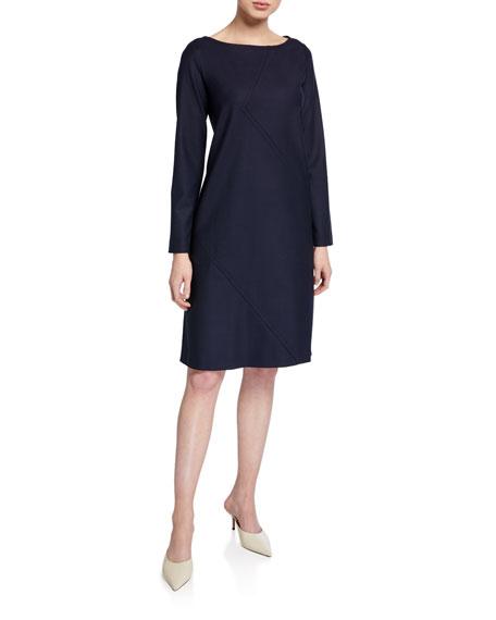 Piazza Sempione Long-Sleeve Seamed Shift Dress