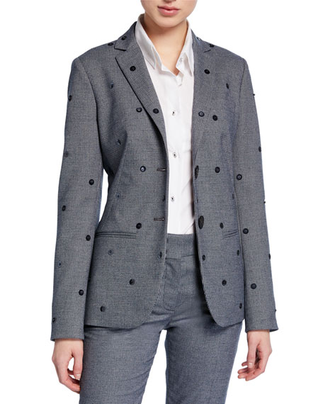 Piazza Sempione Sequined Glen Plaid Blazer