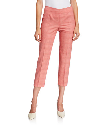 Audrey Prince of Wales Check Pants, White-Red