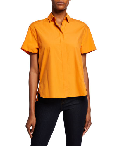 Cotton Poplin Short-Sleeve Blouse