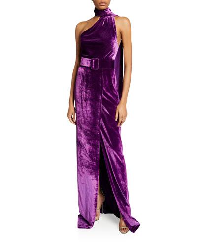 Asymmetric Velvet Halter-Neck Gown