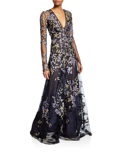 Long-Sleeve Floral-Embroidered Lace Illusion Gown
