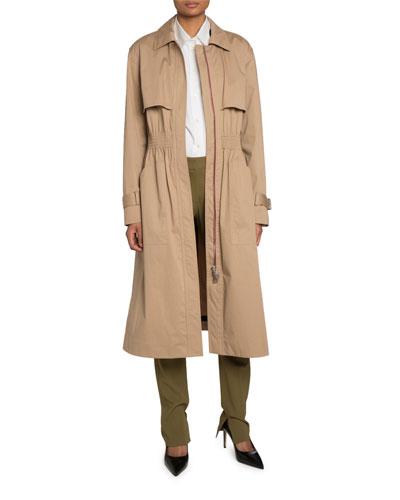 Waxed Gabardine Trench Coat