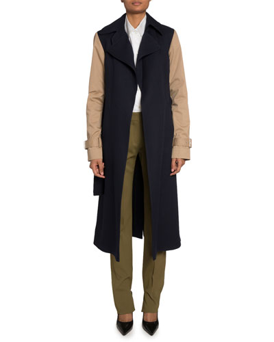 Two-Tone Heavy Gabardine Fitted Coat