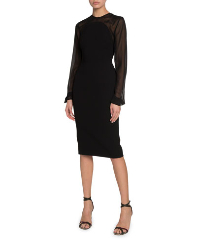 Sheer-Sleeve Crepe Illusion Dress
