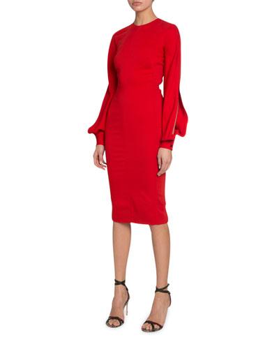 Triple-Georgette Slashed-Sleeve Dress