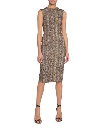 Sleeveless Snake Jacquard Dress
