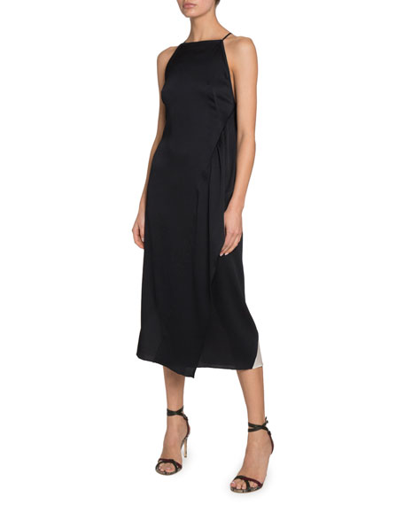 Victoria Beckham Silk Seersucker Asymmetric Dress