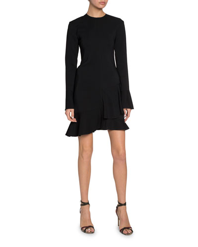 Triple Georgette Long-Sleeve Dress