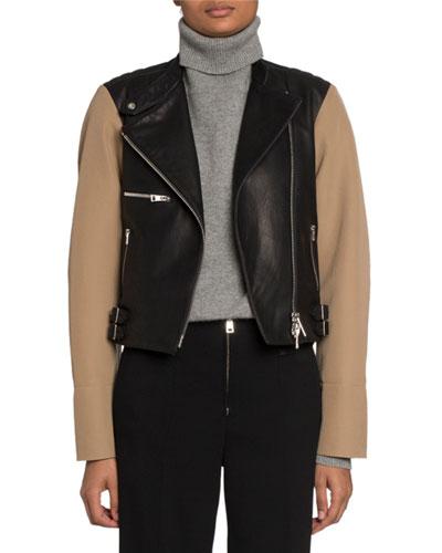 Ranger Contrast-Sleeve Biker Jacket